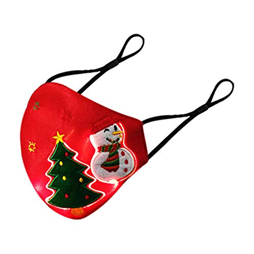 ZWEN Christmas Luminous Light Up Face_Mask USB Rechargeable LED Rave Cover Glowing Dust Cover for Christmas Party Festival Dancing Rave Masquerade Costumes (Red, 2PCS)