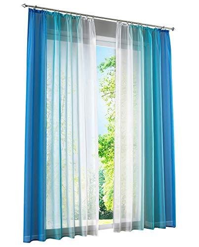 BAILEY JO 2er-Pack Gardinen mit Verlauf-Farben Muster Vorhang Transparent Voile Vorhänge (BxH 140x145cm, Blau mit Kräuselband)