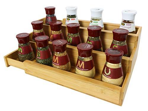 Coninx Kruidenrek, uittrekbaar met 3 etages, kruiden rek, uitbreidbaar, voor het opbergen van specerijen, specerijen organizer, kruidenrek tot 51 cm breed
