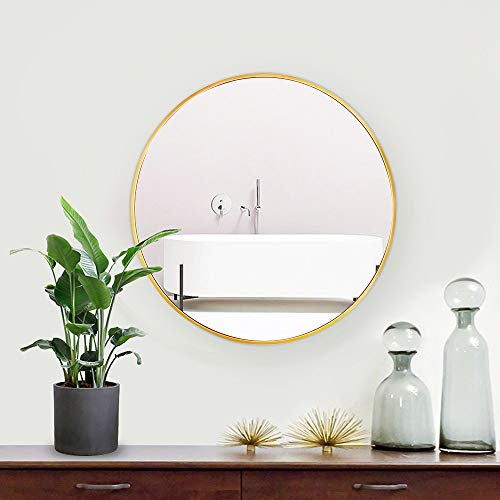 Lekesky Espejo redondo dorado con marco de aleación de aluminio, espejo de pared HD de 45 cm para cuarto de baño, dormitorio, entrada.