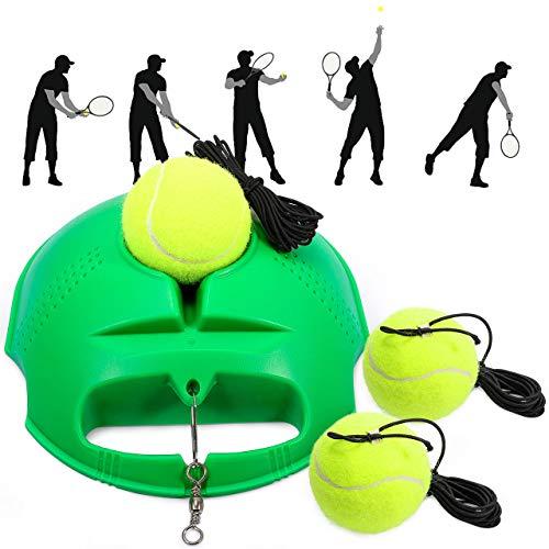 Fostoy Allenatore di Tennis, Set di Allenatori di Tennis Base per Allenatore con 3 Palle di Rimbalzo, Strumento di Allenamento per Allenamenti Solitari Adulto Bambini Giocatore Principiante (Verde)