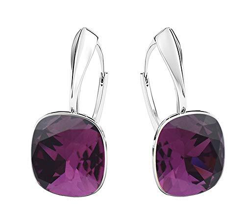 Crystals & Stones NEUHEIT - SQUARE - Tolle Ohrringe - Farbe Ametyst - Silber 925 Schön Damen Ohrringe mit Kristallen von Swarovski Elements - Wunderbare Ohrringe