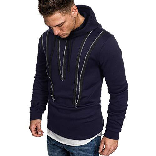 Sweatshirt Top Hoodie Men Autumn Long Sleeve Zipper Hooded Tee Outwear Blouse (L,1Navy)