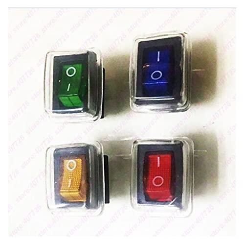 CHANGXINBH Interruptor pulsador (4pcs / 4lights) 21mm x 15 mm o - rectángulo Interruptor de rockero Impermeable + Cubierta del Barco del Tablero de Instrumentos del Coche con la luz de 220V