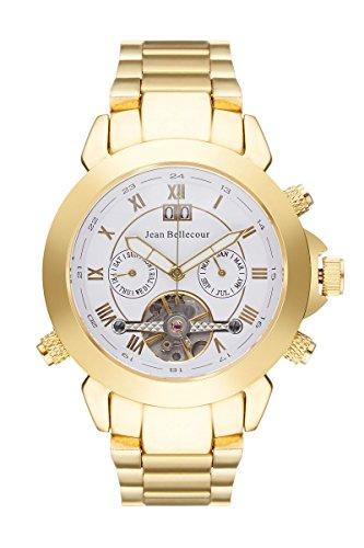 Jean Bellecour REDS5 herenhorloge, tijdloos, automatisch, analoog, witte wijzerplaat, vergulde stalen armband