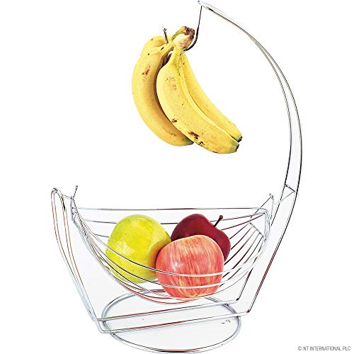 Ossian Hammock Fruit Basket with Banana Hook – Stylish Premium Chrome Home Kitchen 2 in 1 Large Wide Wire Frame Swinging Fruit Bowl Basket with Banana Hanging Hanger Tree Holder and Worktop Safe Feet
