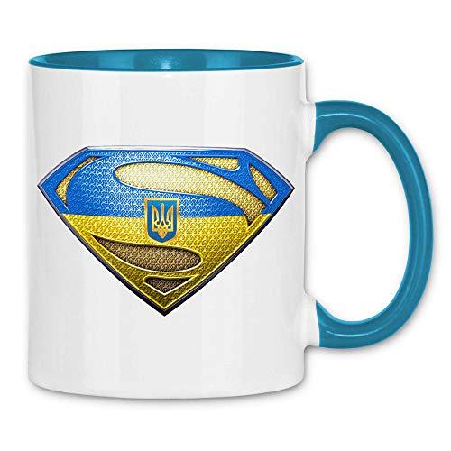 wowshirt Tasse Ukraine Flagge Fahne Wappen, Farbe:White - Light Blue