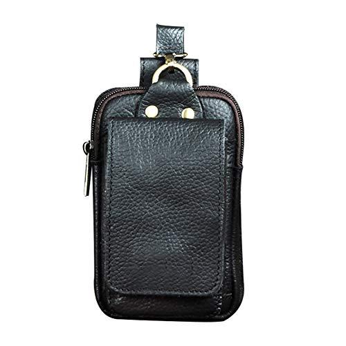 Boshiho - Riñonera para hombre, de piel auténtica, para cinturón, bolso para paquete de tabaco, teléfono móvil, cartera o monedero, Black (Negro) - BOSHIHO-BUMBAG-069BL