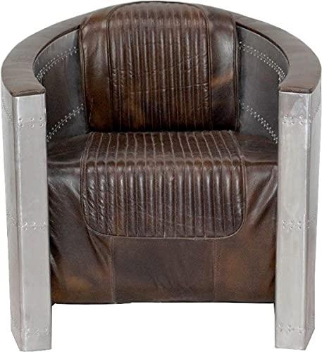 Casa Padrino Art Deco de Cuero Silla de Aluminio marrón - sillones - sillón - los Pilotos del avión de Muebles