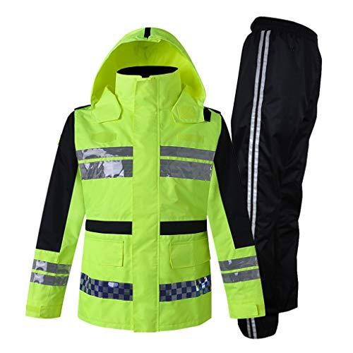 Rescue veiligheidsvest Reflective regenjas Verkeer Patrol Waarschuwing reflecterende vesten Highway Werkkleding Fluorescent Yellow Split Suit Male XMJ (Size : XL)