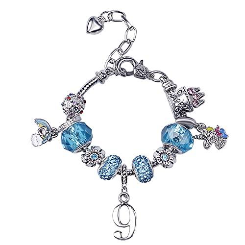 Pulseras de cristal azul para joyas de 9º cumpleaños talladas con cadena de arco iris, pulsera de cumpleaños para niñas, hija, sobrina