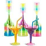 Vasos de plástico Margarita, 36 unidades, 355 ml, 4 colores neón surtidos...