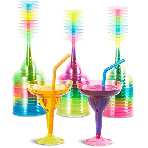 Vasos de plástico Margarita, 36 unidades, 355 ml, 4 colores neón surtidos