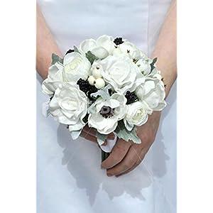 Silk Blooms Ltd Real Touch White Anemone, Rose & Ranunculus Wedding Mini Posy