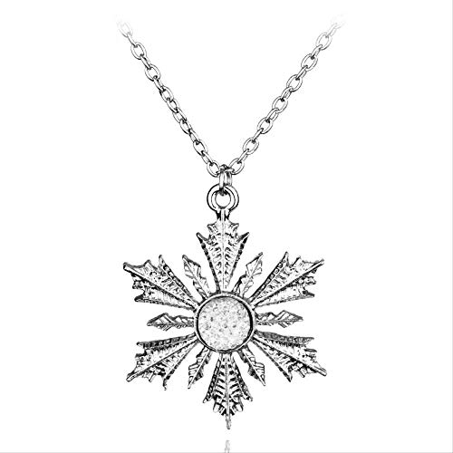 Snow And Ice Colors Necklaces Ornaments Snowflake Pendant Long Necklace Elsa Anna Xmas Vintage Retro Gift