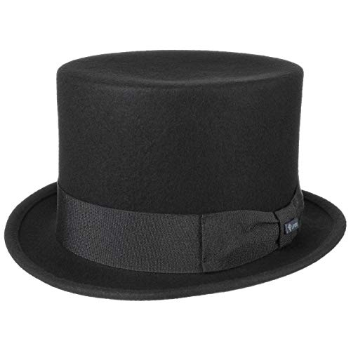 Lipodo Zylinder Filzhut schwarz Damen und Herren - Wollfilzhut Made in Italy - Hochzeitshut mit Ripsband - Hut Sommer/Winter - Zylinderhut aus Filz schwarz XL (60-61 cm)
