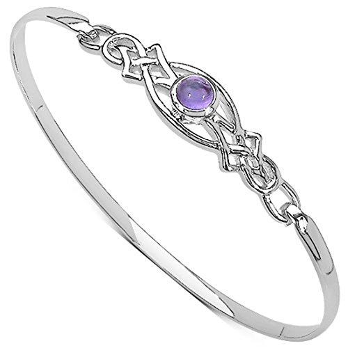 Damen-Armreif Sterling-Silber 925 Amethyst keltisch Rennie-Mackintosh-Stil Clipverschluss Schmuckschatulle