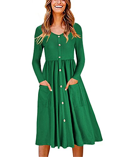 OUGES Women's Long Sleeve V Neck Button Down Midi Skater Dress with Pockets(Green,L)