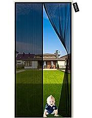 Klamboe Deur 110 x 260 cm Vliegengordijn, Montage Zonder Boren Superfijn Gaasgordijn Eenvoudige installatie voor balkondeur, kelderdeur en terrasdeur (Zwart)