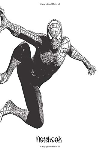 SPIDERMAN NOTEBOOK: Black/white notebook to write in, lined pages, perfect gift for any film lovers, for men women boys girls who love fictional superhero characters