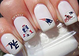 New England Patriots Water Nail Art Transfers Stickers Decals - Set of 48