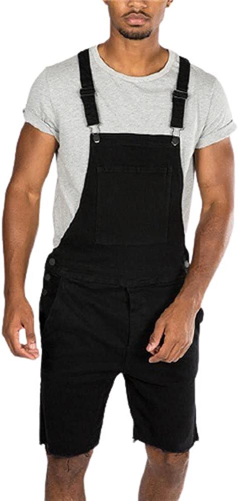 Ulooker Fashion Men's Regular Fit Denim Bib Overall Shorts Above Knee Length Ripped Short Jeans