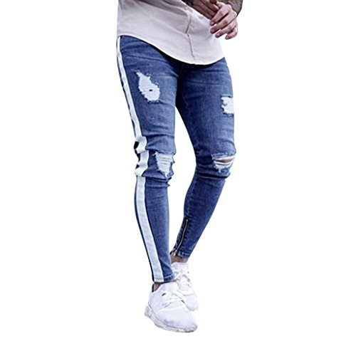Ansenesna Hosen Herren Jeans Lang Slim Destroyed Vintage Freizeithose Männer Zerrissen Denim Mit Reisverschluss (L, Weiss)