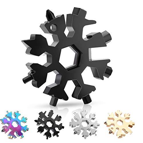 Schneeflocke Multi-Tool,Sporgo 18-in-1 Schneeflocken MultiTool Edelstahl Schneeflocken Multifunktionswerkzeug,Geschenke für Männer,Tragbares Edelstahl-Multifunktionswerkzeug für Outdoor-Abent