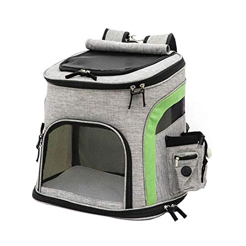 XJZKA Borsa da Trasporto Pieghevole per Animali Domestici, Grande Zaino Portatile per Animali Domestici Zaino Traspirante Dog Cat - Grigio Verde (Dimensioni: 33x25x42cm; A: 10kg) (Colore