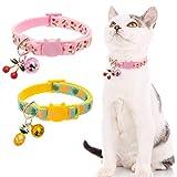BINGPET Breakaway Cat Collar with Bell, 2 Pack Safety Adjustable Cat Collars Set, Pineapple & Cherry