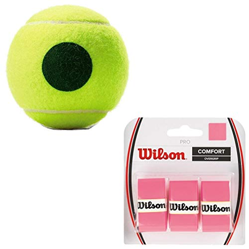 Wilson US Open Green Dot Tennis Balls (25% Lower Compression Than Standard) - (1) Can of 3 - Starter Kit or Set Bundled with (1) 3-Pack of Wilson Pro Overgrips in Pink (Great Stocking Stuffers)