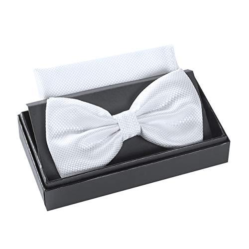 Massi Morino ® Fliege mit Einstecktuch im Set (verstellbar) inkl. Geschenkbox - vorgebundene Herren Fliegen (Weiß)