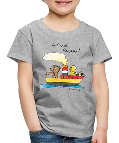 Janosch Tiger Und Bär Auf Nach Panama Kinder Premium T-Shirt, 110-116, Grau meliert