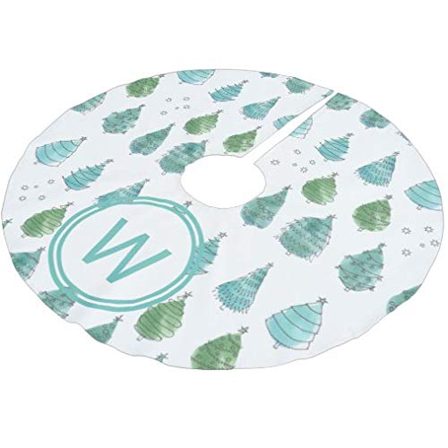 onepicebest Merry Christmas Tree Skirt, Monogram Christmas Trees Teal Tree Skirt Xmas Tree Decorations for Farmhouse Party, Tree Mat Cover 36 Inch