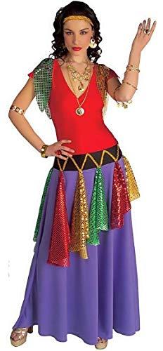 M - kostuum - vermomming - carnaval - halloween - zigeuner - etnisch - sinti - rom - paarse kleur - volwassenen - vrouw - meisje