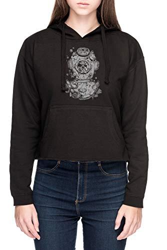 Vendax Tot Taucher Damen Bauchfreies Crop Kapuzenpullover Sweatshirt Schwarz Women's Crop Hoodie Black