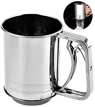 Snowyee Flour Sifter, for Baking Stainless Steel 3 Cup Double Layers Sieve with Hand Press Design (1 Piece)