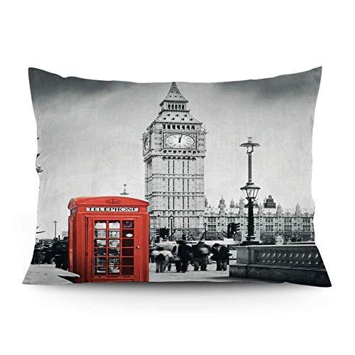 Leisure-Time Funda de cojín, Funda de teléfono Famosa y el Big Ben en Inglaterra Street View Símbolos de la Ciudad Retro, Funda de Almohada Impresa, 16 'x24'