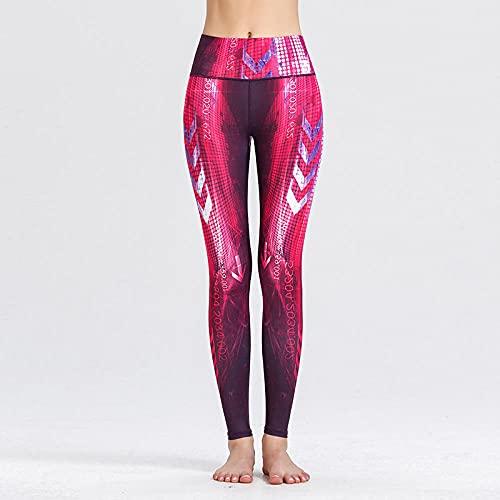 bayrick Leggings Push Up Mujer Mallas,Nuevos Pantalones de Yoga de Fitness Delgado de la impresión Delgada Nueve Pantalones-F_SG