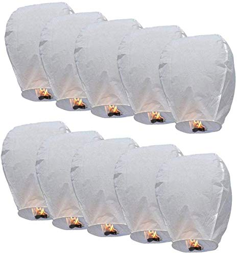 Alittle lanternes Volantes 100% biodégradable Blanc Chinois Lanterne Volante 50 pièces Sky Lantern