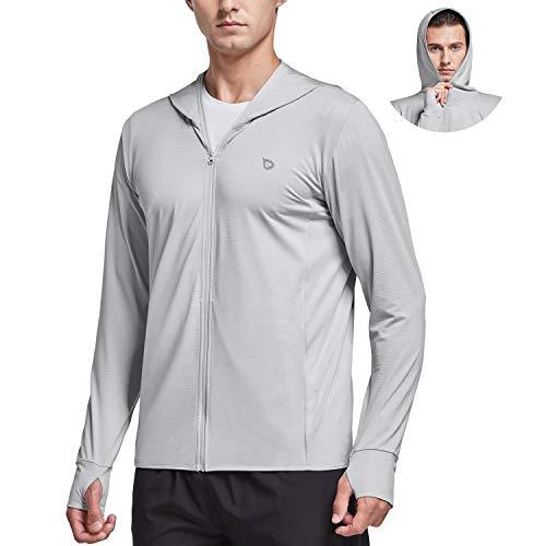 BALEAF Men's Zip Up SPF UPF 50+ UV Sun Protection Long Sleeve Cooling Shirt Lightweight Quick Dry Jackets Hoodie Pocket Hiking Fishing Outdoor Light Grey M
