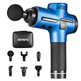 Muscle Massager, Electric Handheld Percussion Massager Gun for Deep Tissue and Fascia Soreness Relief, Rechargeable Cordless Drill Massager with 6 Attachments and Portable Carrying Case - Blue