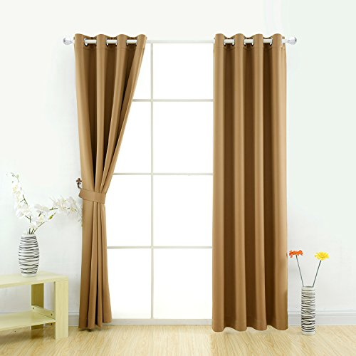 YOJA Thermal Insulated Noise Reducing Heat Blocking Drapes,Dark Coffee,52' W x 84' L (1 Panel)