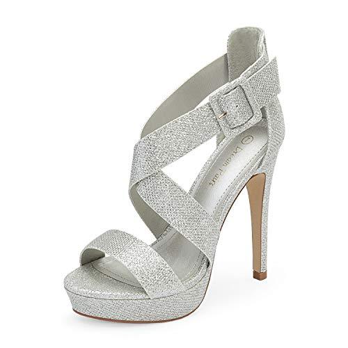 DREAM PAIRS Women's Silver Glitter Cross Strap Open Toe High Stilettos Party Pump Platform Heel Sandals Size 8 US Charlotte