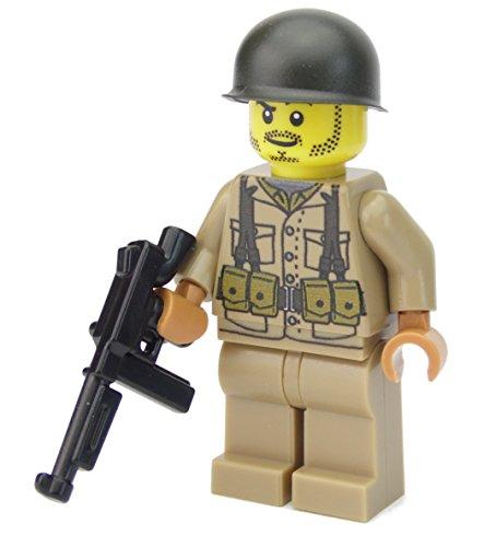 Amerikanischer US Soldat | Ausgerüstet mit BrickArms Thompson und Helm | Bedruckte Custom Figur