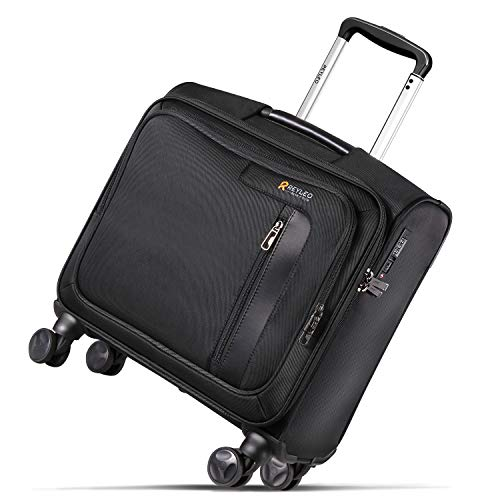 REYLEO Rolling Briefcase on 8 Wheels Rolling Laptop Bag Rolling Computer Case Spinner Mobile Office Carry On Luggage Built-in TSA Lock for 14.1 Inch Notebook