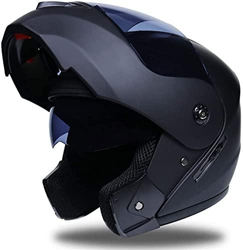 YUnZhonghe Cascos de Moto Flip-up, Doble Visera Motocicleta Motocicleta Motocicleta Moto Scooter Casco de Cara Completa, para Hombres Adultos Mujeres Medio Cascos (Color : Black, Size : M)