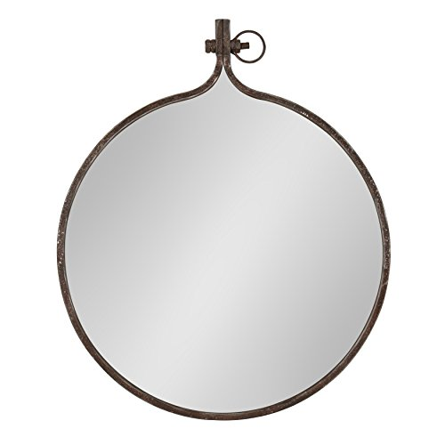 Kate and Laurel Yitro Round Industrial Rustic Metal Framed Wall Mirror, 23.5x28.5, -