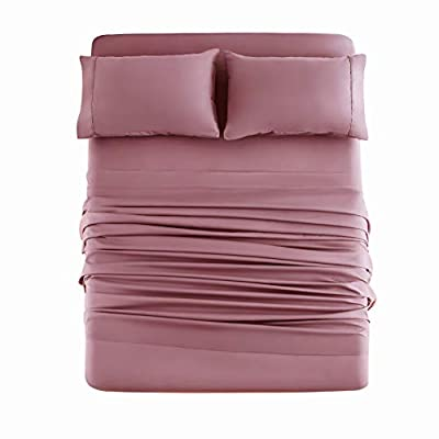 Mohap Bed Sheet Set 4 Pieces Brushed Microfiber Luxury with Soft Bedding Fade and Stain Resistant King Size Rose Red