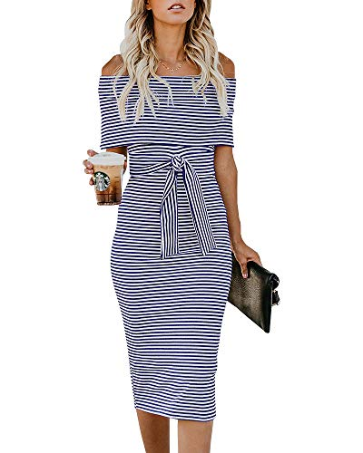Imysty Womens Off The Shoulder Sweater Dresses Bodycon Striped Cocktail Party Pencil Dress with Belt Blue